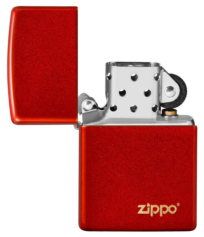 Classic Metallic Red Matte Zippo Logo Windproof Lighter with its lid open and unlit