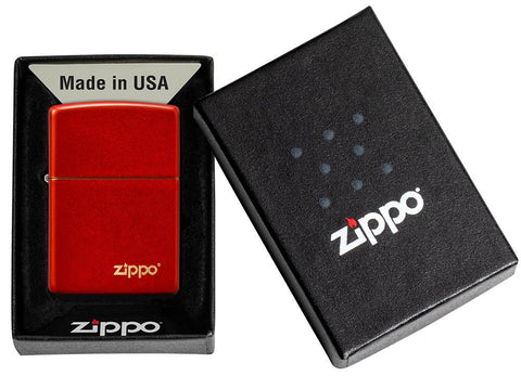 Classic Metallic Red Matte Zippo Logo Windproof Lighter in its packaging