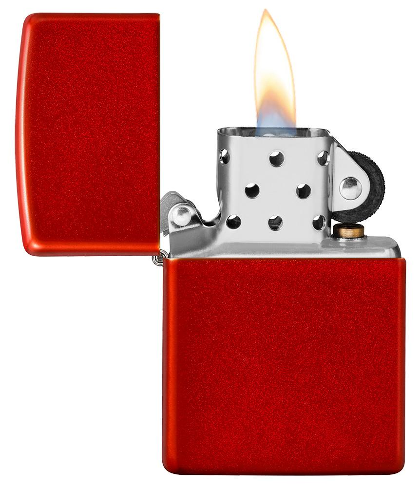 Metallic Red Matte Windproof Lighter with its lid open and lit