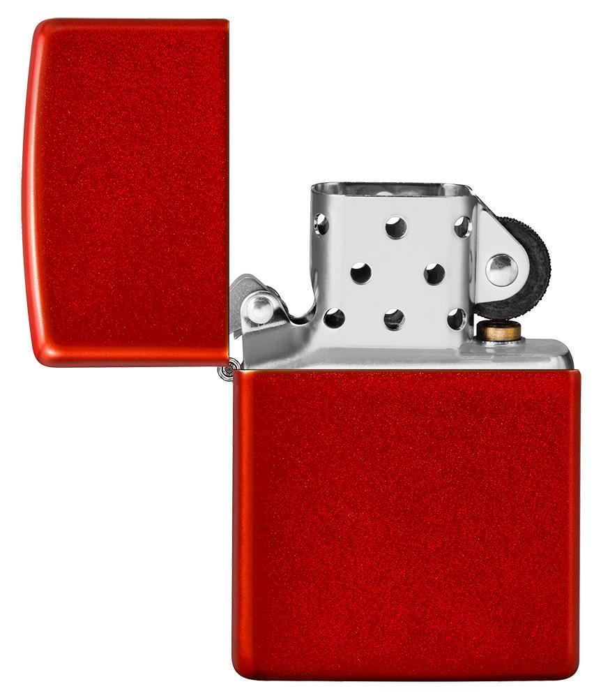 Metallic Red Matte Windproof Lighter with its lid open and unlit