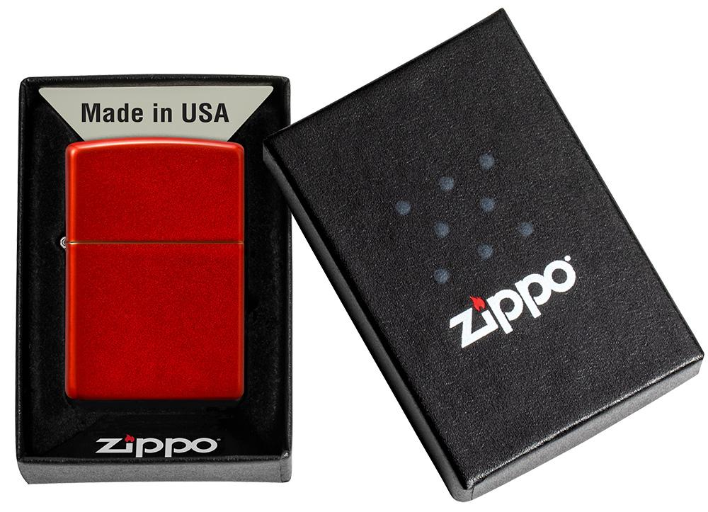 Metallic Red Matte Windproof Lighter in its packaging