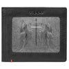 Front of black Leather Wallet With Cross Wings Metal Plate Design - ID Window