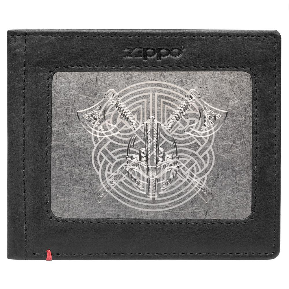 Front of black Leather Wallet With Viking Metal Plate Design - ID Window