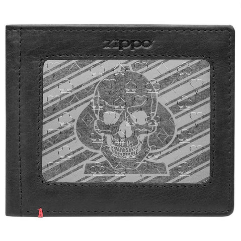 Front of black Leather Wallet With Spade Skull Metal Plate Design - ID Window