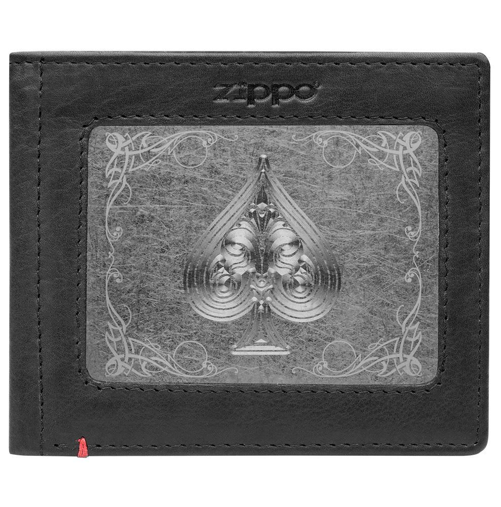 Front of black Leather Wallet With Spade Metal Plate Design - ID Window