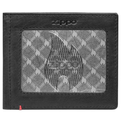 Front of black Leather Wallet With Zippo Flame Metal Plate Design - ID Window