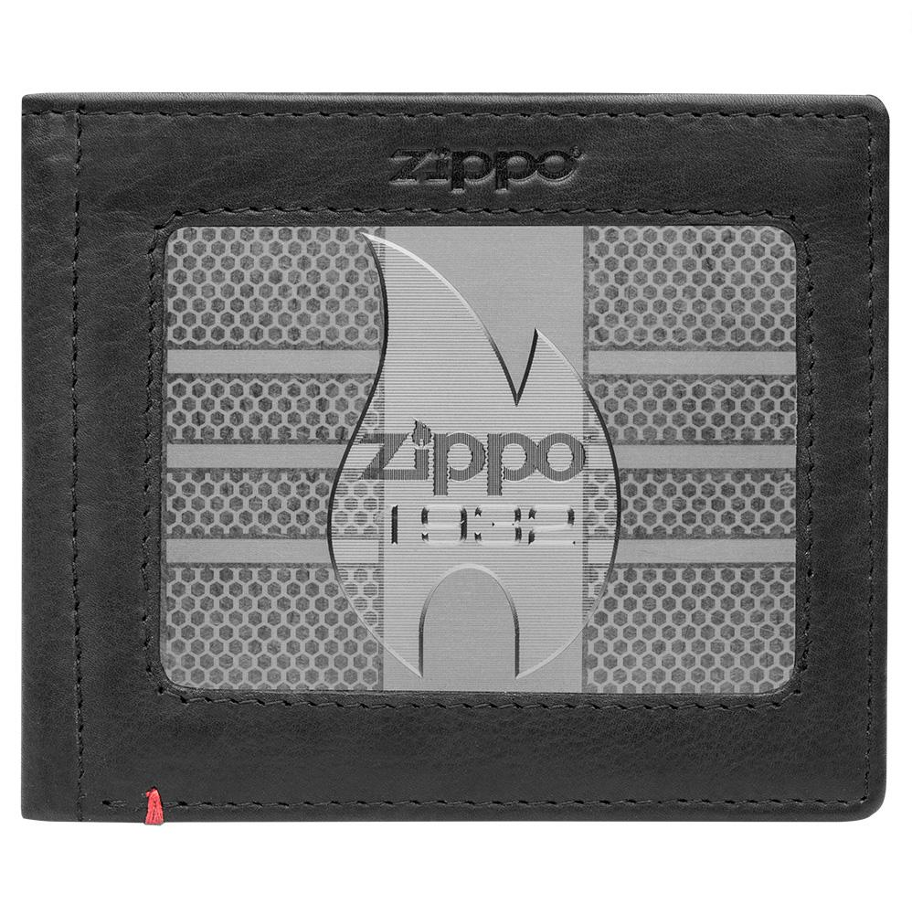 Front of black Leather Wallet With Zippo 1932 Metal Plate Design - ID Window