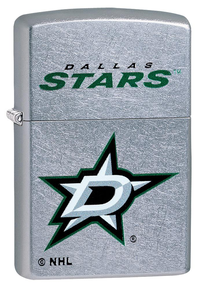 Front shot of ©NHL Dallas Stars Street Chrome™ Windproof Lighter standing at a 3/4 angle