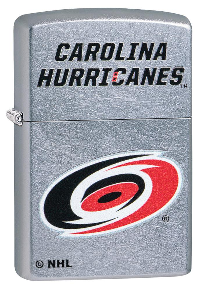 Front of ©NHL Carolina Hurricanes Street Chrome™  Windproof Lighter standing at a 3/4 angle