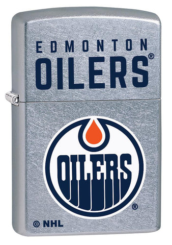 Front shot of ©NHL Edmonton Oilers Street Chrome™ Windproof Lighter standing at a 3/4 angle