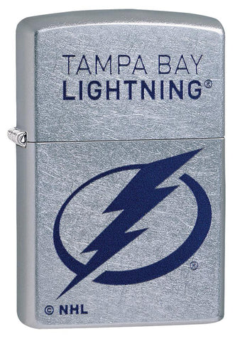 Front shot of ©NHL Tampa Bay Lightning Street Chrome™ Windproof Lighter standing at a 3/4 angle