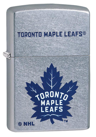Front shot of ©NHL Toronto Maple Leafs Street Chrome™ Windproof Lighter standing at a 3/4 angle