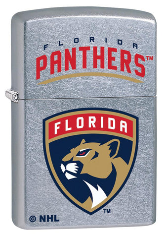 Front shot of ©NHL Florida Panthers Street Chrome™ Windproof Lighter standing at a 3/4 angle