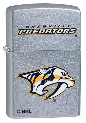 Front shot of ©NHL Nashville Predators Street Chrome™ Windproof Lighter standing at a 3/4 angle