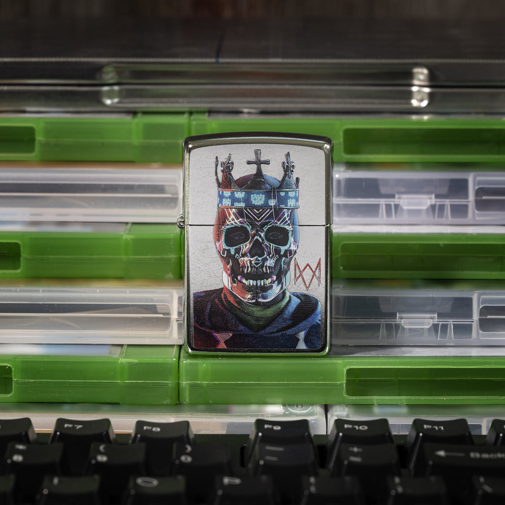 Watch Dogs: Legion Logo front view of lighter standing on a stack of video game cases