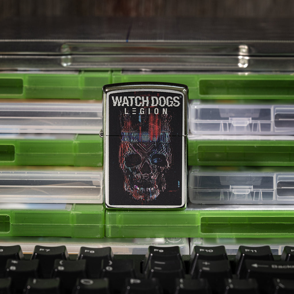 Watch Dogs: Legion Logo Lighter front view of lighter standing on video game cases