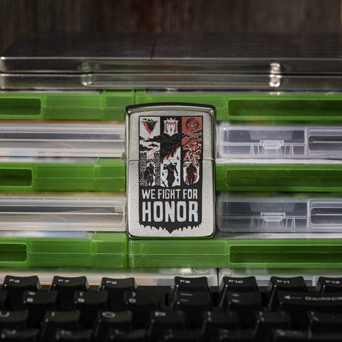 Fight for honor front view standing on a stack of video game cases