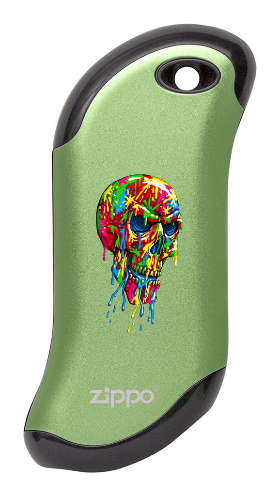 Front of Paint Splatter Skull: Green HeatBank® 9s Rechargeable Hand Warmer