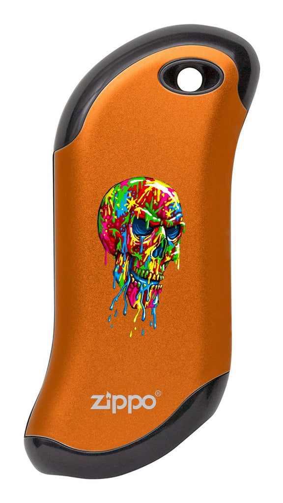 Front of Paint Splatter Skull: Orange HeatBank® 9s Rechargeable Hand Warmer