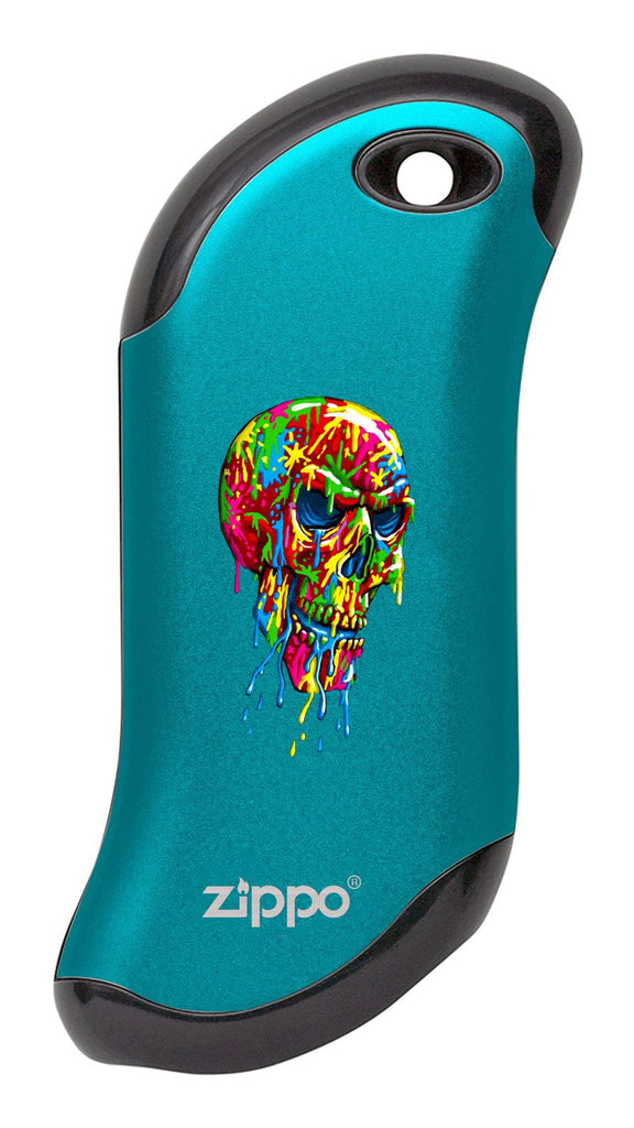 Front of Paint Splatter Skull: Blue HeatBank® 9s Rechargeable Hand Warmer
