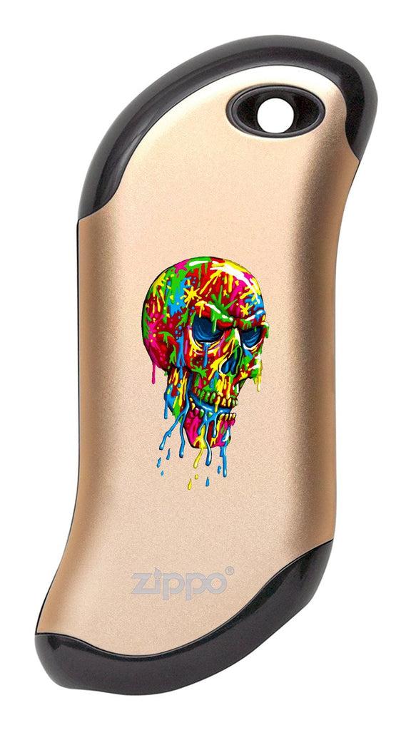 Front of Paint Splatter Skull: Champagne HeatBank® 9s Rechargeable Hand Warmer