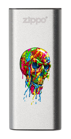 Front of Paint Splatter Skull: Silver HeatBank® 3-Hour Rechargeable Hand Warmer