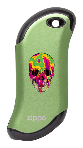 Front of Colorful Skull: Green HeatBank® 9s Rechargeable Hand Warmer