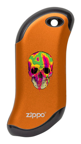 Front of Colorful Skull: Orange HeatBank® 9s Rechargeable Hand Warmer