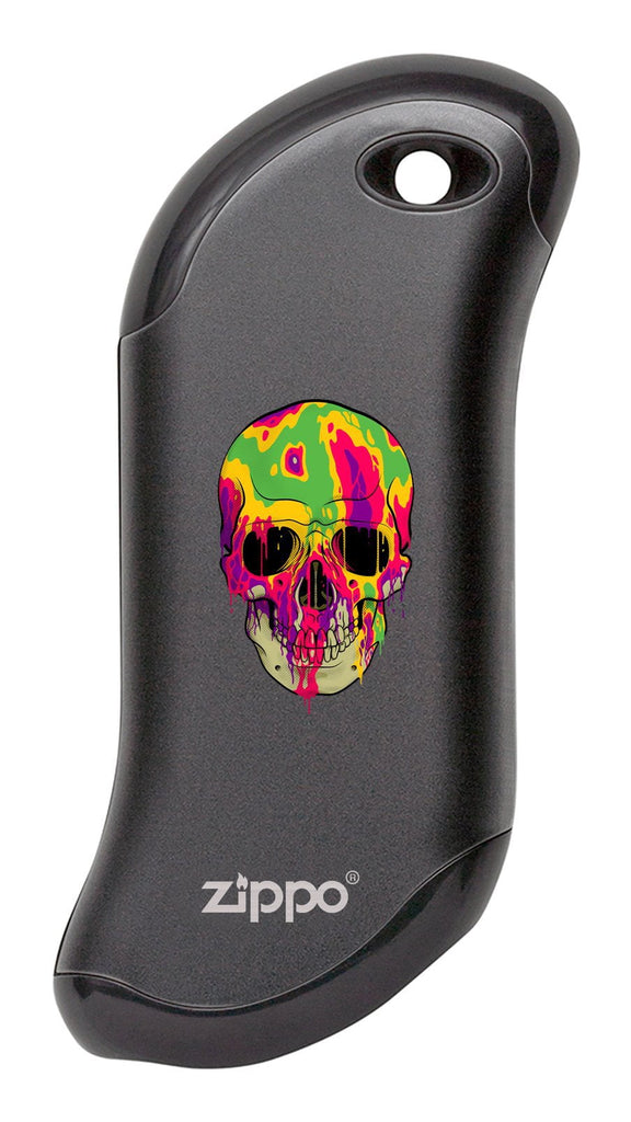 Front of Colorful Skull: Black HeatBank® 9s Rechargeable Hand Warmer