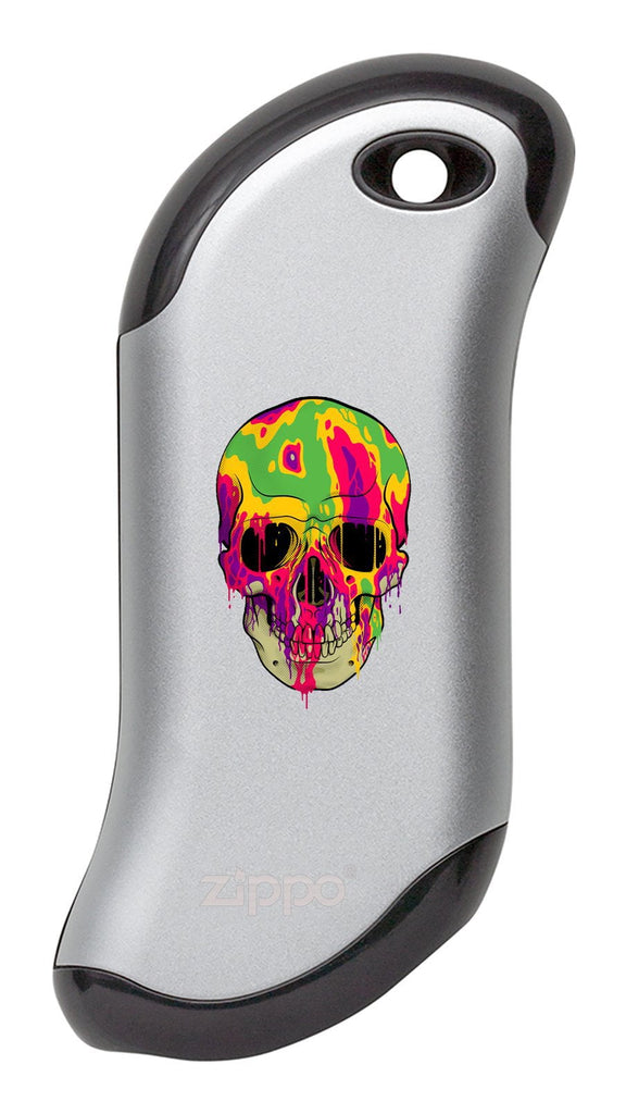 Front of Colorful Skull: Silver HeatBank® 9s Rechargeable Hand Warmer