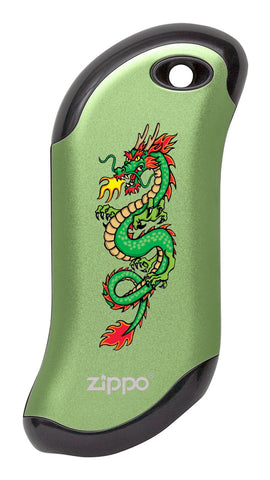 Front of Chinese Dragon: Green HeatBank® 9s Rechargeable Hand Warmer