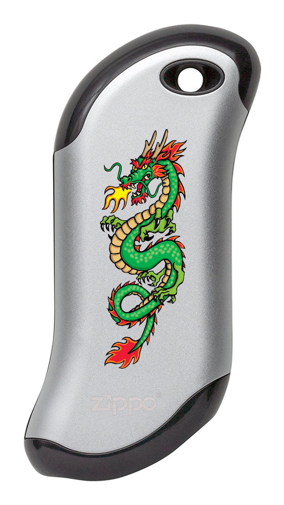 Front of Chinese Dragon: Silver  HeatBank® 9s Rechargeable Hand Warmer