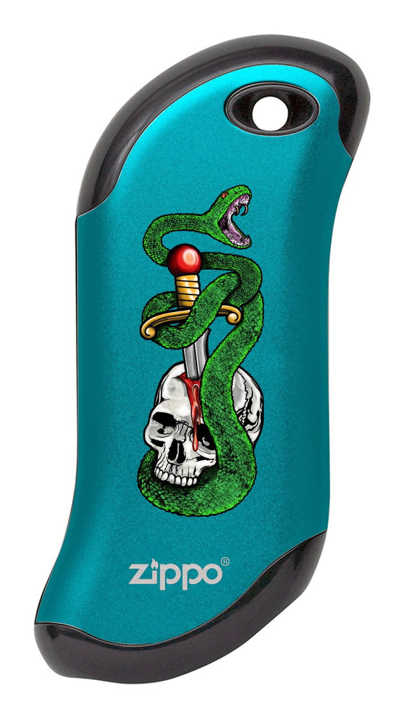Front of Skull, Snake, & Dagger: Blue HeatBank® 9s Rechargeable Hand Warmer