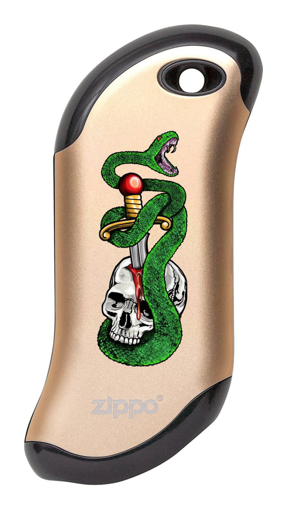 Front of Skull, Snake, & Dagger: Champagne HeatBank® 9s Rechargeable Hand Warmer
