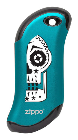 Front of Sugar Skull: Blue HeatBank® 9s Rechargeable Hand Warmer