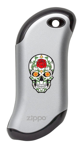 Front of Rose Sugar Skull: Silver HeatBank® 9s Rechargeable Hand Warmer