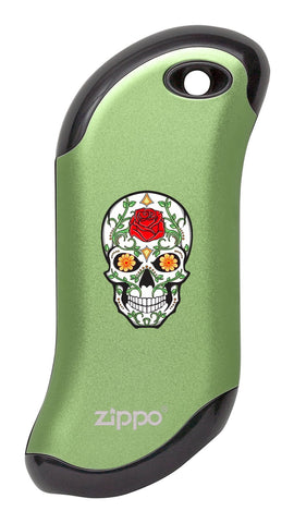 Front of Rose Sugar Skull: Green HeatBank® 9s Rechargeable Hand Warmer
