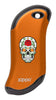 Front of Rose Sugar Skull: Orange HeatBank® 9s Rechargeable Hand Warmer