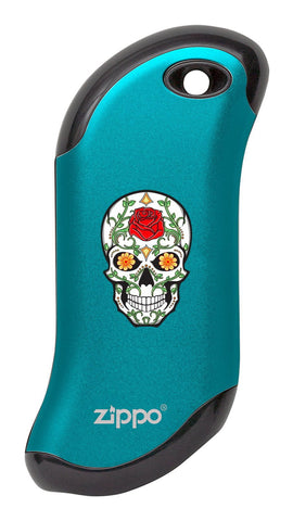Front of Rose Sugar Skull: Blue HeatBank® 9s Rechargeable Hand Warmer
