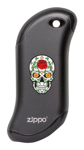 Front of Rose Sugar Skull: Black HeatBank® 9s Rechargeable Hand Warmer