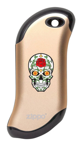Front of Rose Sugar Skull: Champagne HeatBank® 9s Rechargeable Hand Warmer