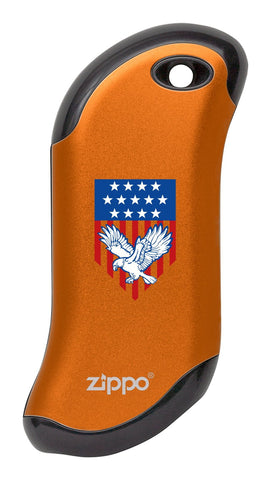 Eagle and American Flag: Orange HeatBank® 9s Rechargeable Hand Warmer