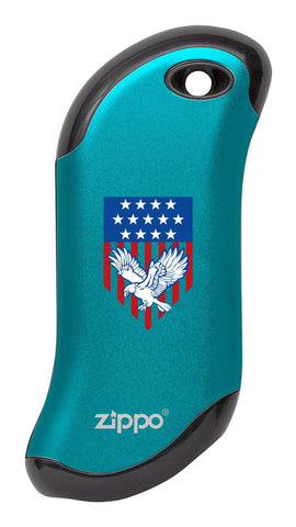 Eagle and American Flag: Blue HeatBank® 9s Rechargeable Hand Warmer