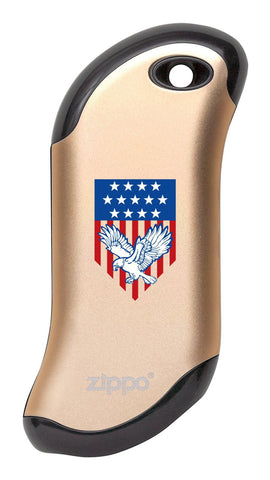 Eagle and American Flag: Champagne HeatBank® 9s Rechargeable Hand Warmer