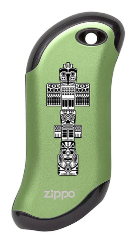 Front of Totem Pole: Green HeatBank® 9s Rechargeable Hand Warmer