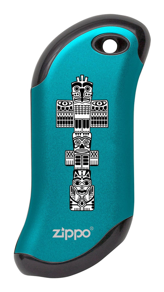Front of Totem Pole: Blue HeatBank® 9s Rechargeable Hand Warmer