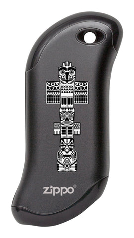 Front of Totem Pole: Black HeatBank® 9s Rechargeable Hand Warmer
