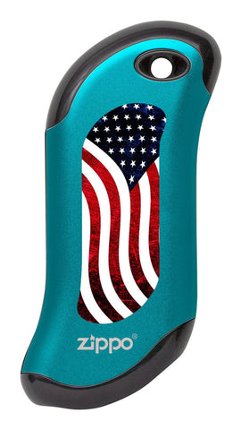 Front of American Flag: Blue HeatBank® 9s Rechargeable Hand Warmer