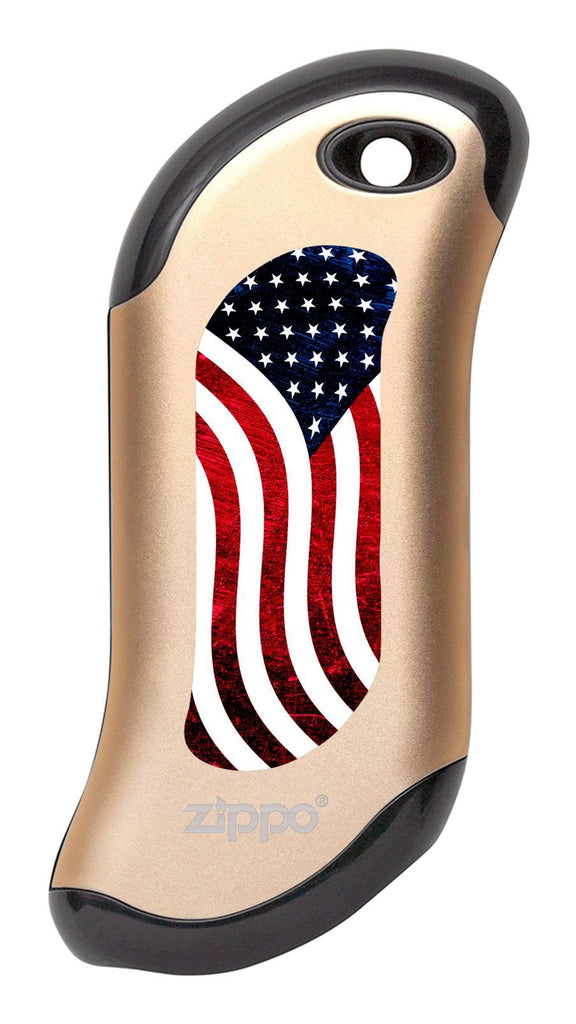 Front of American Flag: Champagne HeatBank® 9s Rechargeable Hand Warmer
