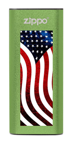 Green American Flag: HeatBank® 3-Hour Rechargeable Hand Warmer